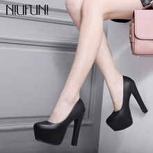 NIUFUNI 2020 Spring Autumn Women Pumps 14cm Super High Heels Round Toe Platform
