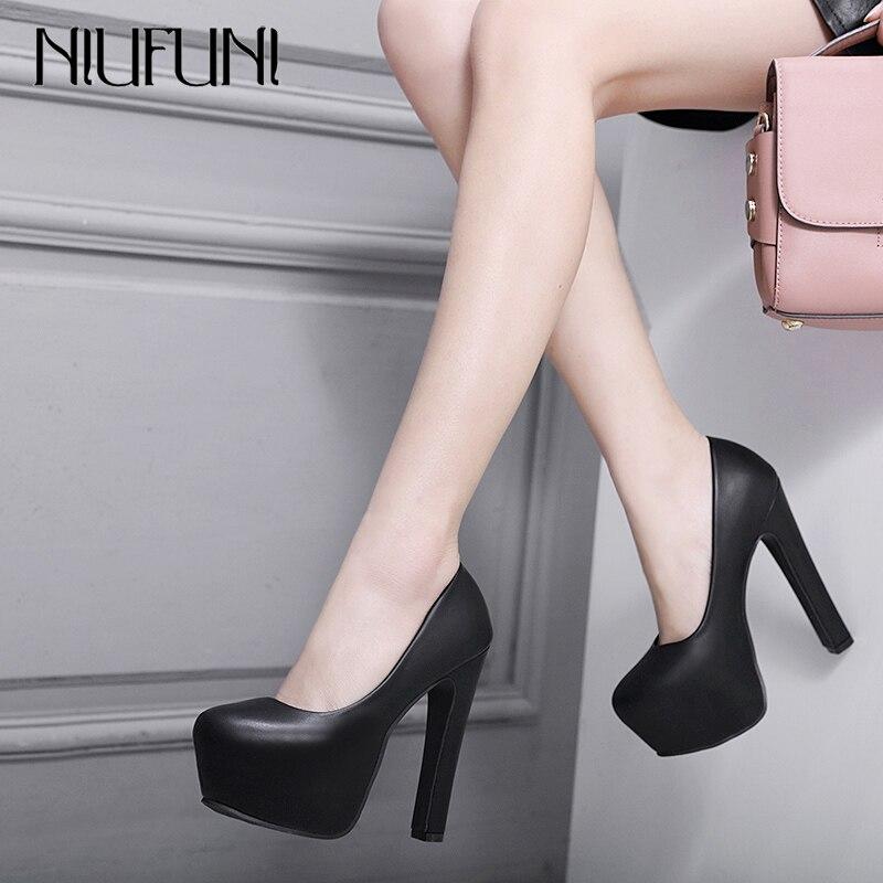 Женские туфли лодочки NIUFUNI, вечерние туфли из искусственной кожи на очень высоком толстом каблуке 14 см, с круглым носком, весна осень 2020|Туфли|   | АлиЭкспресс