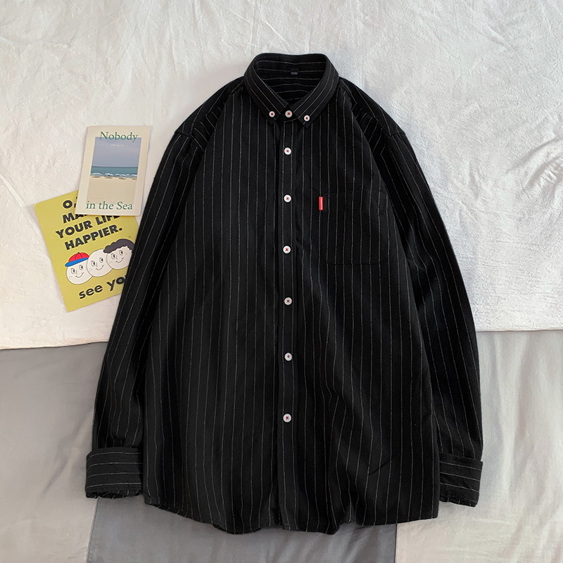 Summer New Loose-Fit Men's Shirt Hip Hop Casual Brand Harajuku Long-Sleeve Top Korean Style-Solid Color Striped-Style Clothes
