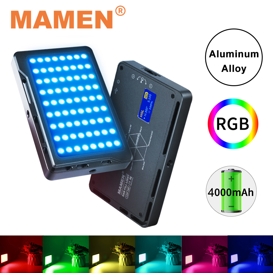 MAMEN Full Color RGB Video Light 1000K-9000K Photographic Lighting 4000 mAh CRI 96+ Lamp For Studio Youtube Vlog Camera Light