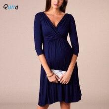 Clothings Nursing-Dress V-Neck Elegant Solid-Color Maternity-Party Women New Spring-Fall