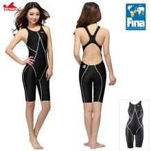 Yingfa fina aprovado competição à prova dwaterproof água cloro resistente mulheres uma peça de banho na altura do joelho maiô bodysuit menina