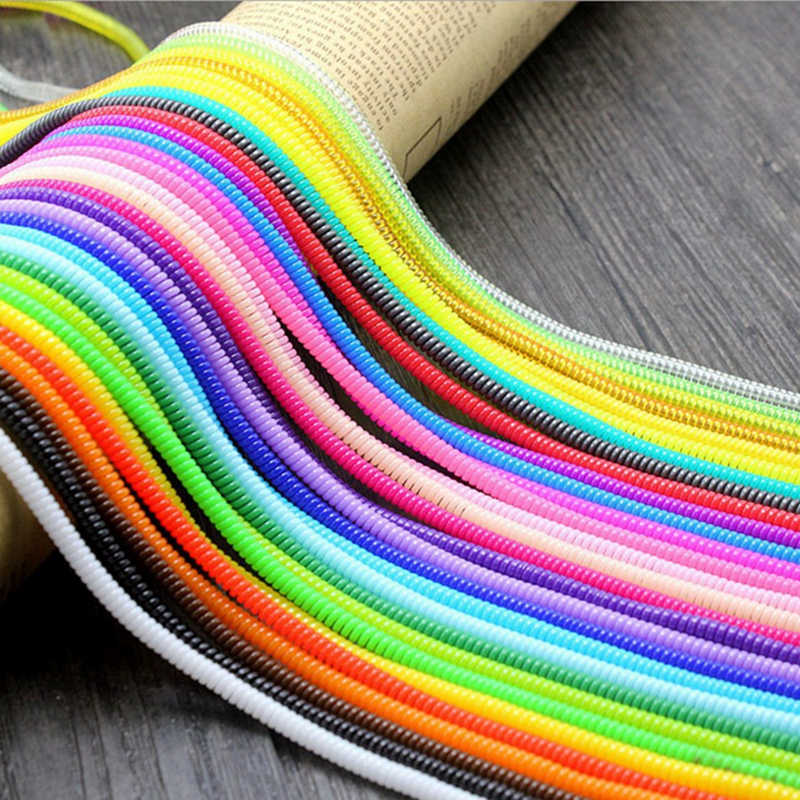 Selectable 60CM Solid Colorful TPU Spiral USB Charger Cable Cord Protector Wrap Cable Winder For iphone Samsung Data Cable