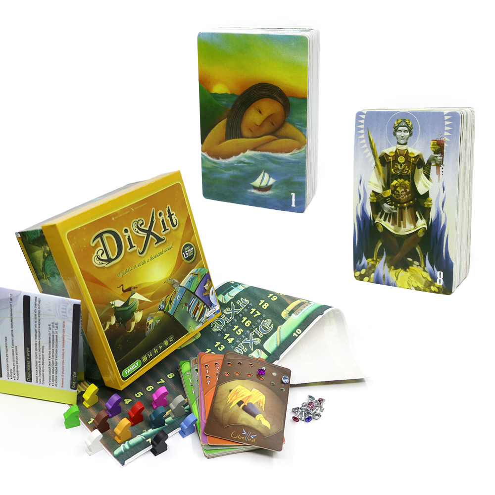 2020 Imaginative Card Game Dixit 1+8 ( Basic, Revelations) Wooden Rabbits Toys 168 Cards Colorful Box Gifts For Kids Board Games