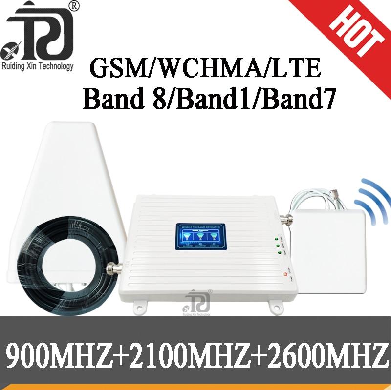 Rusia 4G amplificador de señal GSM 900 + (B1) WCDMA 2100 + (B7) FDD LTE 2600 4g repetidor de señal móvil Kit de amplificador celular Repetidor tribanda amplificador móvil 900 1800 2100 GSM repetidor DCS 2G WCDMA 3G 4G repetidor LTE Amplificador de señal móvil