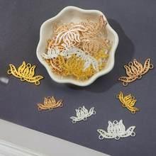 Abalorios de Metal con forma de flor de loto para fabricación de joyas, accesorios de joyería, colgantes, materiales hechos a mano