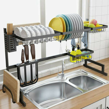 Kitchen Dish Rack Plate Cutlery Cup Dish Drainer 304 Stainless Steel Drying Rack Wall Mount Kitchen Organizer Storage Holder mutfak organizer dish drying especias afdruiprek keuken rotate cozinha cuisine cocina organizador kitchen storage rack holder