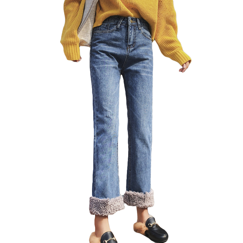 Women Fleece Jeans 2019 Sexy Burr Patchwork Thicken Jean 2019 Skinny Denim Pants Straight Warm Jean Plus Size Streetpant P9180