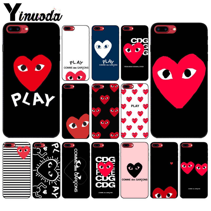 Yinuoda Newest Love CDG Play Like Boys TPU Soft Silicone Black Phone Case for iPhone 8 7 6 6S 6Plus X XS MAX 5 5S SE XR 10