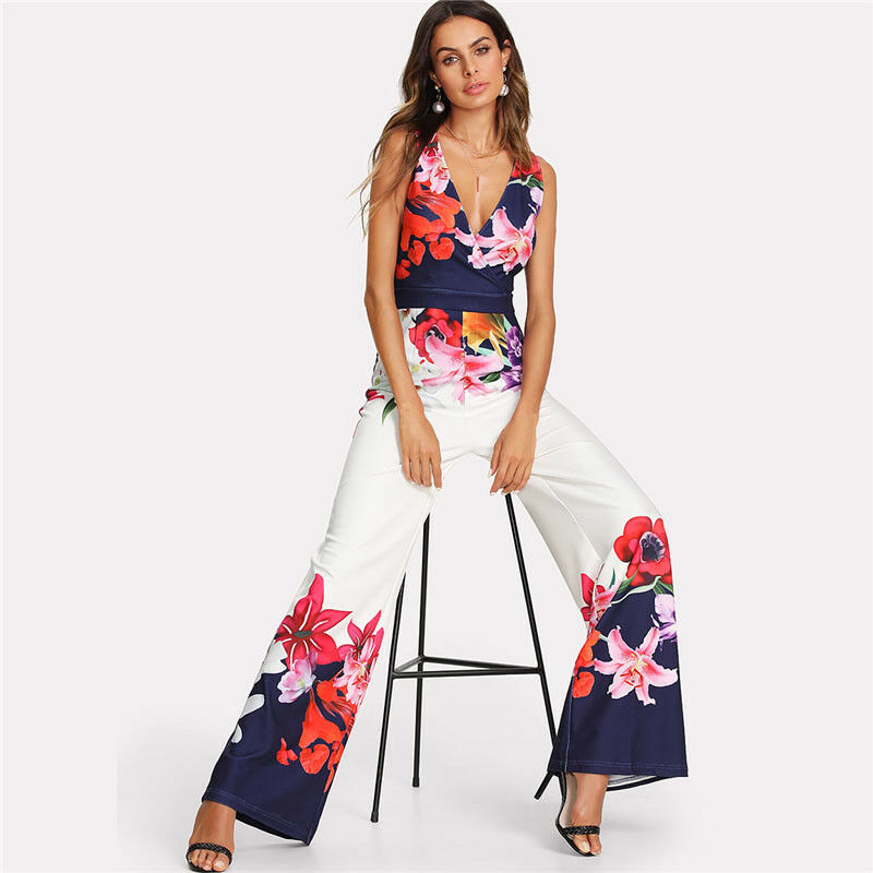 Sexy Strappy Floral Jumpsuits Women Clubwear Bandge Playsuit Bodycon Party Jumpsuit Rompe Wide Leg Trousers
