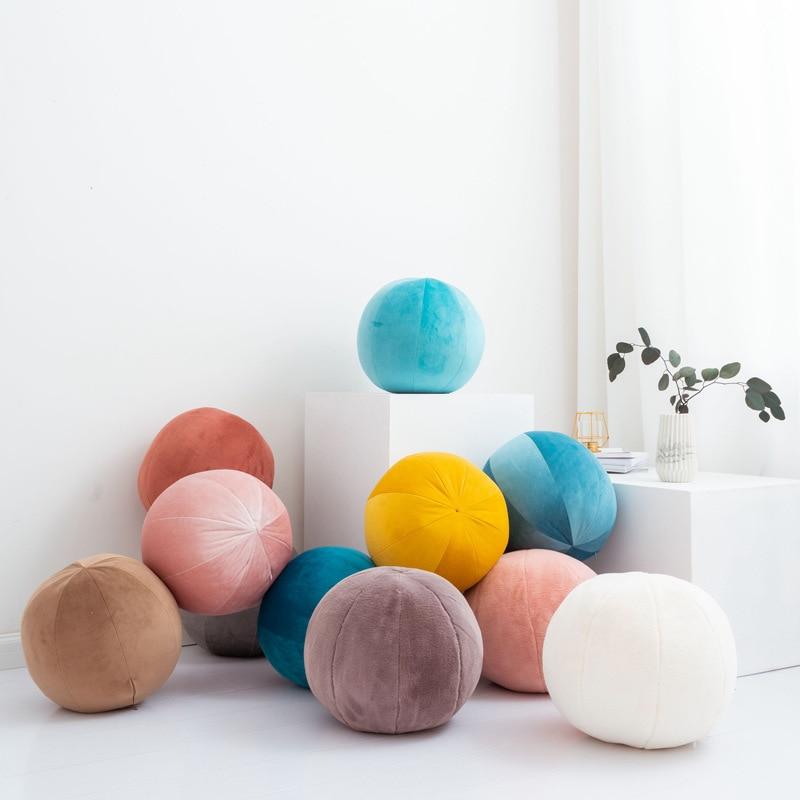 Nordic velvet pure color round cushion morning ball home decorative cushion sofa art ball room salon gallery floor pillow