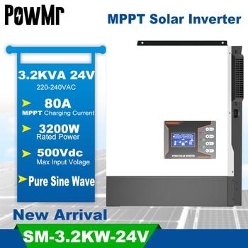 PowMr-inversor Solar híbrido de 3,2 kW, controlador de carga Solar MPPT de 80A de onda sinusoidal pura, 24V, 220V, compatible con batería de litio nueva 1