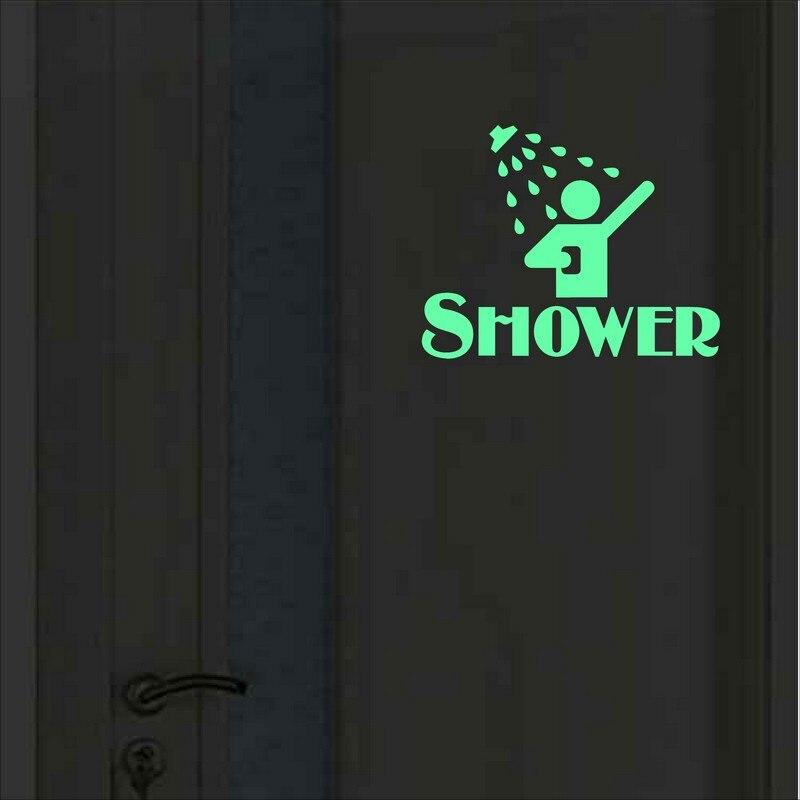 Funny Shower Room Door Sticker Glow in the Dark Bathroom Sign Wall Decal Toilet Washing Room Bath Room DIY Luminous Decoration