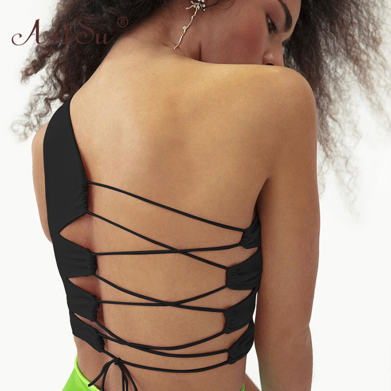 ArtSu White Black Sexy One Shoulder Cross Lace Up Hollow Out Bandage Crop Top 2020 Summer Women Tank Tops Elastic Club Party 1