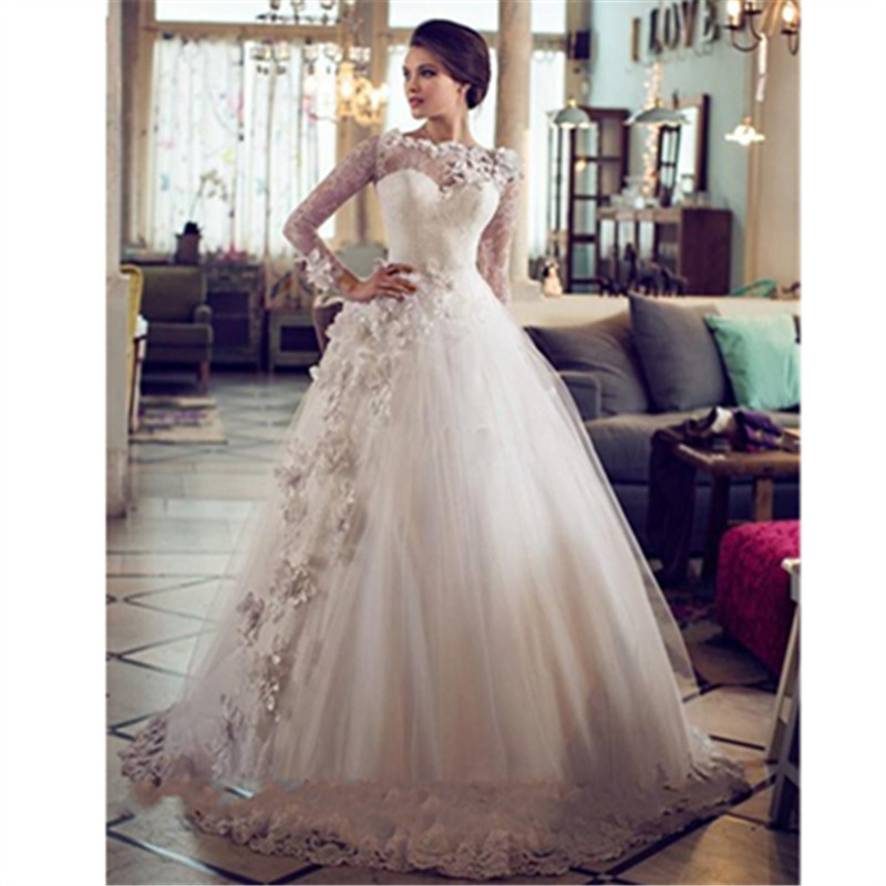 2016 Elegent Floor-Length Sweetheart Cap Sleeve Appliques Ball Gown Princess Wedding Dresses With Long Sleeves Vestido Casamento