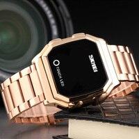 Skmei touch led digital relógios de ouro dos homens data tempo criativo relógios de pulso moda à prova dwaterproof água relógio esporte reloj hombre 1