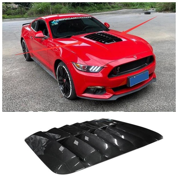 High quality ABS Black & Carbon Fiber Front Bumper Engine Hood Vent Cover Machine Cover Fits For Ford Mustang GT500 2015-2020 1