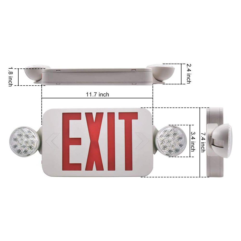 Exit Sign Emergency Light Fire Safety Emergency Escape Indicator Red Exit Compact Combo Hardwired High Output Led New