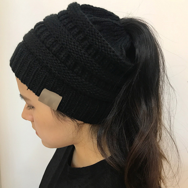 Drop Shipping Ponytail Beanie Women Lady Stretch Knitted Crochet Beanies Winter Hats For Women Hats Cap Warm Messy Bun