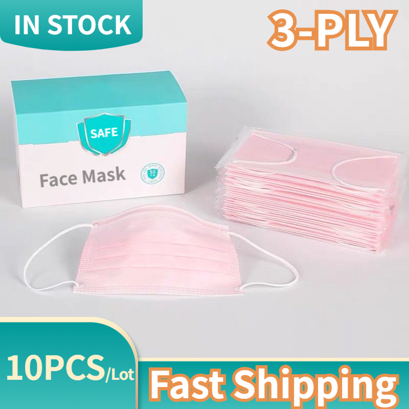 Pink Face Mouth Mask 10PCS Disposable Non-Woven Mouthmask Three-layer Filter For Unisex Anti-dust Mouth Facemask