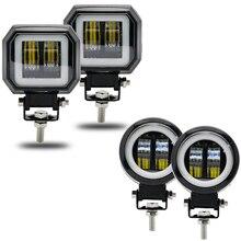 Sis lambası sürüş gündüz Off road ışığı yeni 7D 3 20W motosiklet için Led far Halo jeep ATV 12V 24V SUV çalışma ışığı kirişler