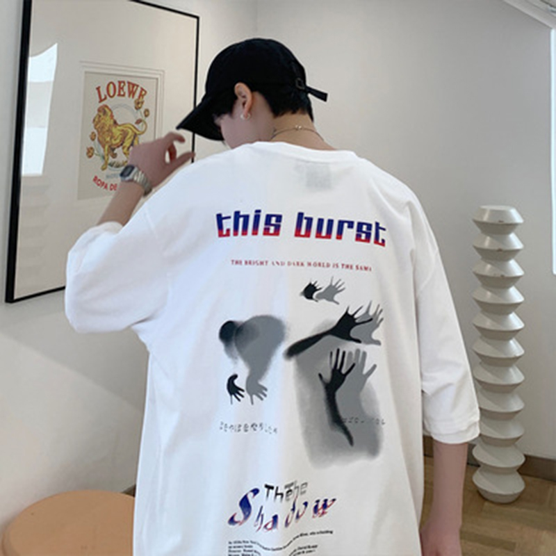 2020 summer Graffiti printing Hip Hop <font><b>Hong</b></font> <font><b>Kong</b></font> style men Japanese loose T-shirt cotton casual men <font><b>tshirts</b></font> plus size M-3XL image