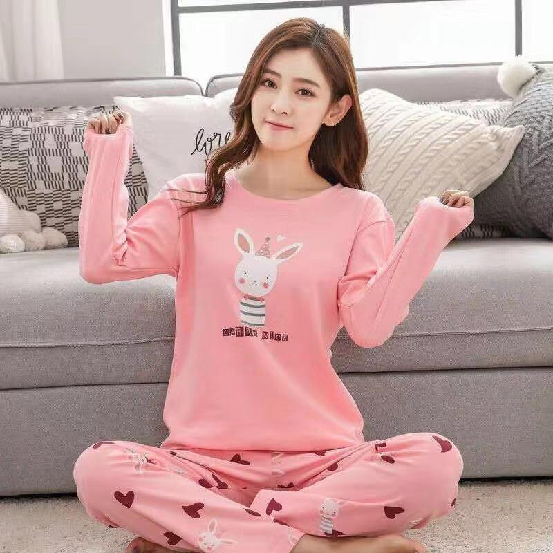 New Women Lovely Sweet Autumn Cute Cartoon Print Long Sleeved Pajama Set Cotton Top Long Pants Sleepwear
