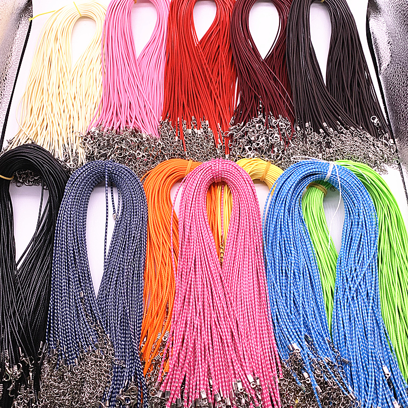 New 10pcs 1.5mm Nylon Tarpaulin Waxed Cord Lobster Clasp Rope Braided <font><b>Adjustable</b></font> Rope for Jewelry Making DIY Necklace <font><b>Bracelets</b></font> image