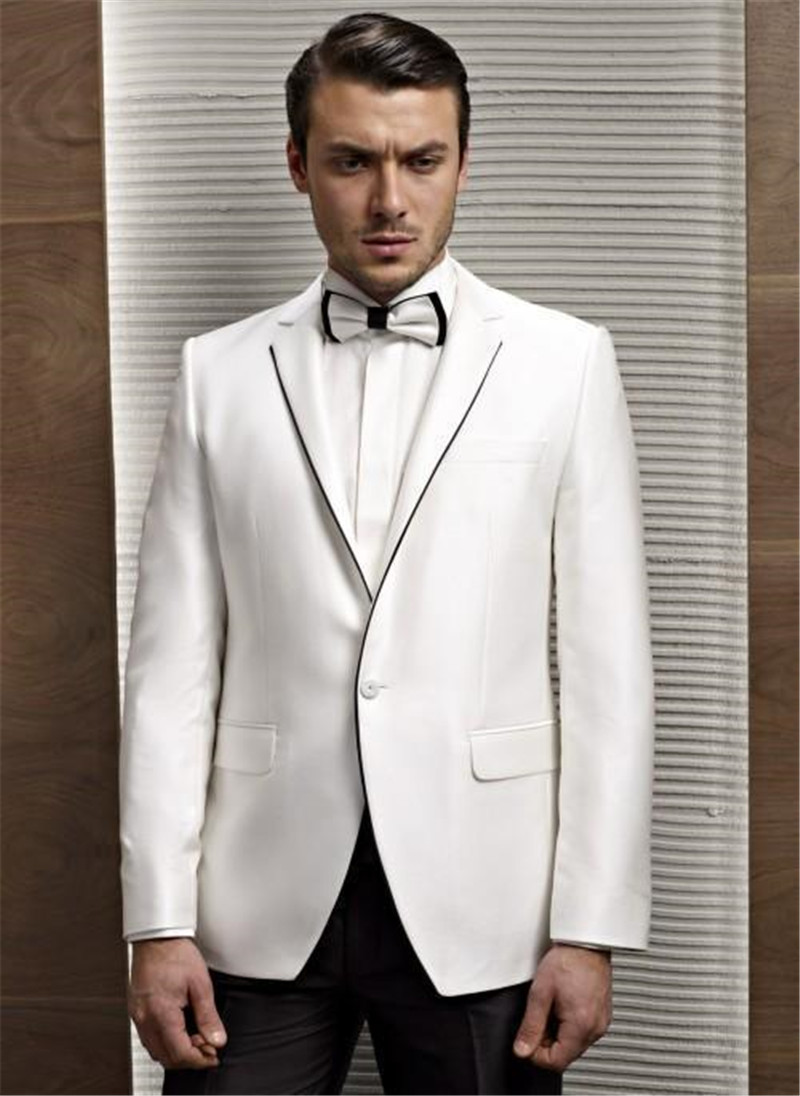 White Formal Mens Wedding Tuxedos Tailor Made Slim Skinny Fashion Bridegrooms Wedding Suits Party Dinner Suits (Jacket+Pant)