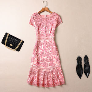 Image 5 - AELESEEN 4XL Plus Size Dresses Women Spring Summer Luxury Vintage Jacquard Hollow Out Floral Embroidery Elegant Party Dress