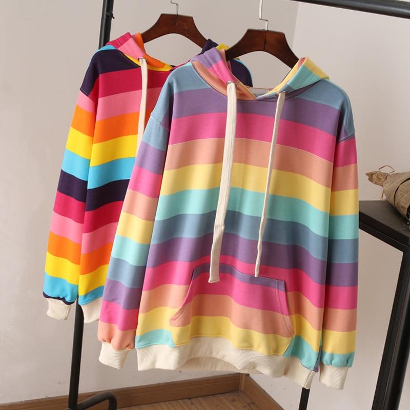 Harajuku Rainbow Stripe Hoodies Women Sweatshirt Loose Pullover For Sweet Girls Pastel Fahion Pink Clothing