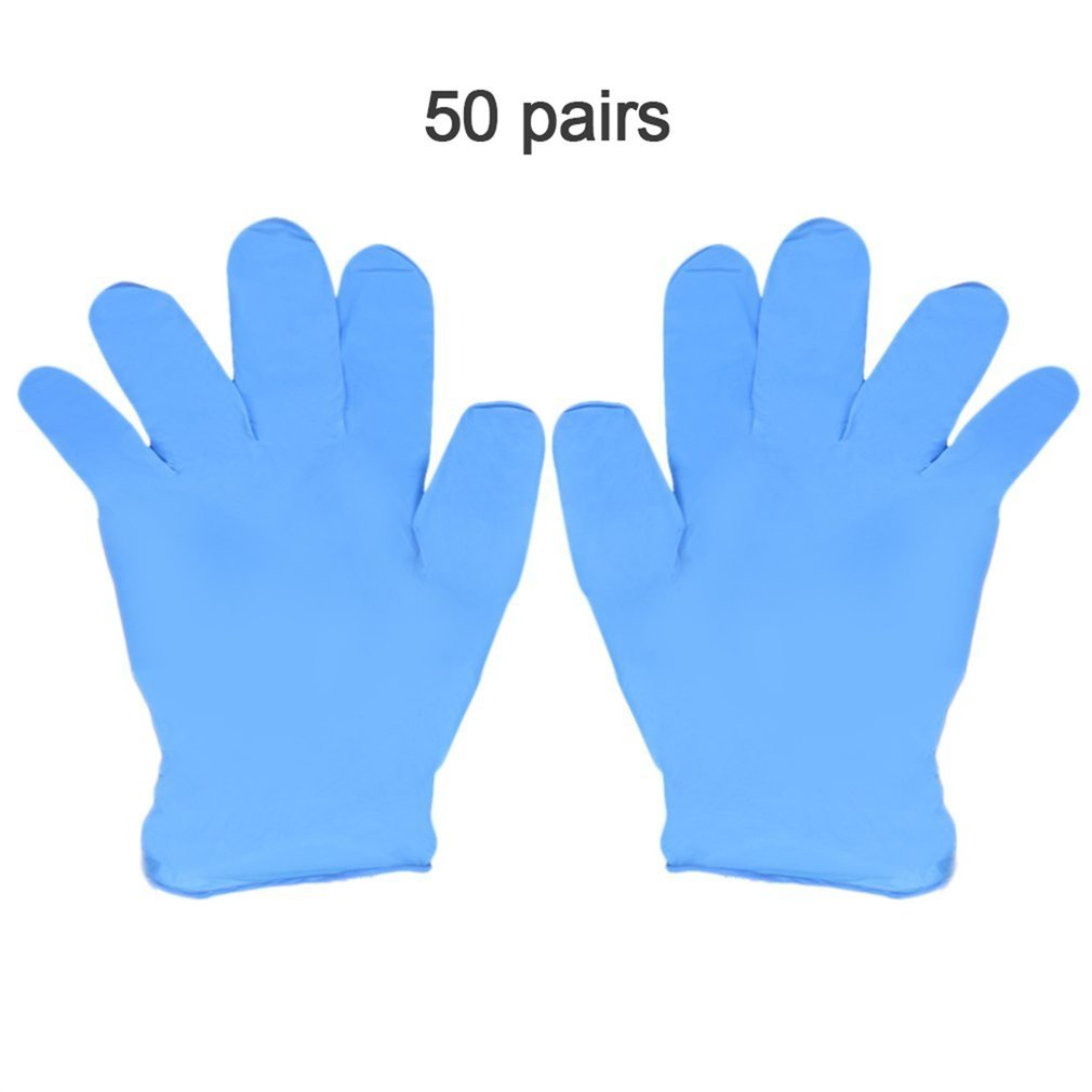 100pcs/box Blue Nitrile Disposable Gloves Wear Resistance Chemical Laboratory Electronics Food Medical Testing Work Gloves
