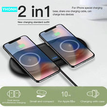 2 in 1 Dual 10W Qi Wireless Charger For iPhone 11 Pro X XS Max XR Samsung S10 S9 Note 10 9 Fast Wireless Charging Dock Pad