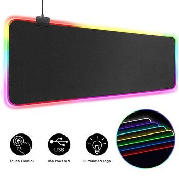 RGB коврик для мыши, игровой коврик для мыши, большой компьютерный коврик для мыши с подсветкой XXL, коврики для мыши со светодиодный подсветко...