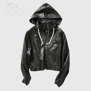 Женская куртка с капюшоном Novmoop, черная весенняя куртка из натуральной овечьей кожи с эластичной резинкой на талии, модель LT3046 в европейском...
