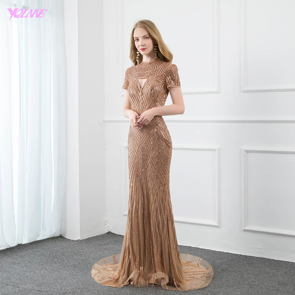 YQLNNE Couture Rose Gold Short Sleeve Evening Dress Long Mermaid Formal Evening Gown Competition Court Train