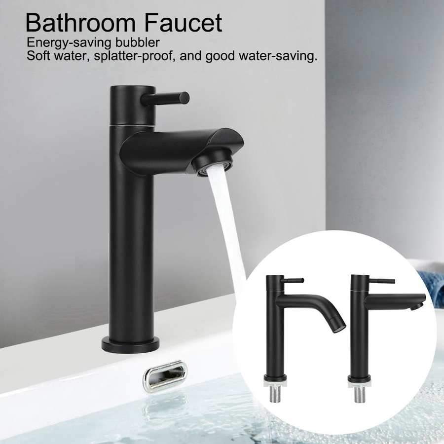 Hbad706c3a932475bb0665f26be174b13i G1/2in Black Kitchen Sink Faucet Stainless Steel Washbasin Faucets Single Cold Water Tap for Kitchen Bathroom basin water taps