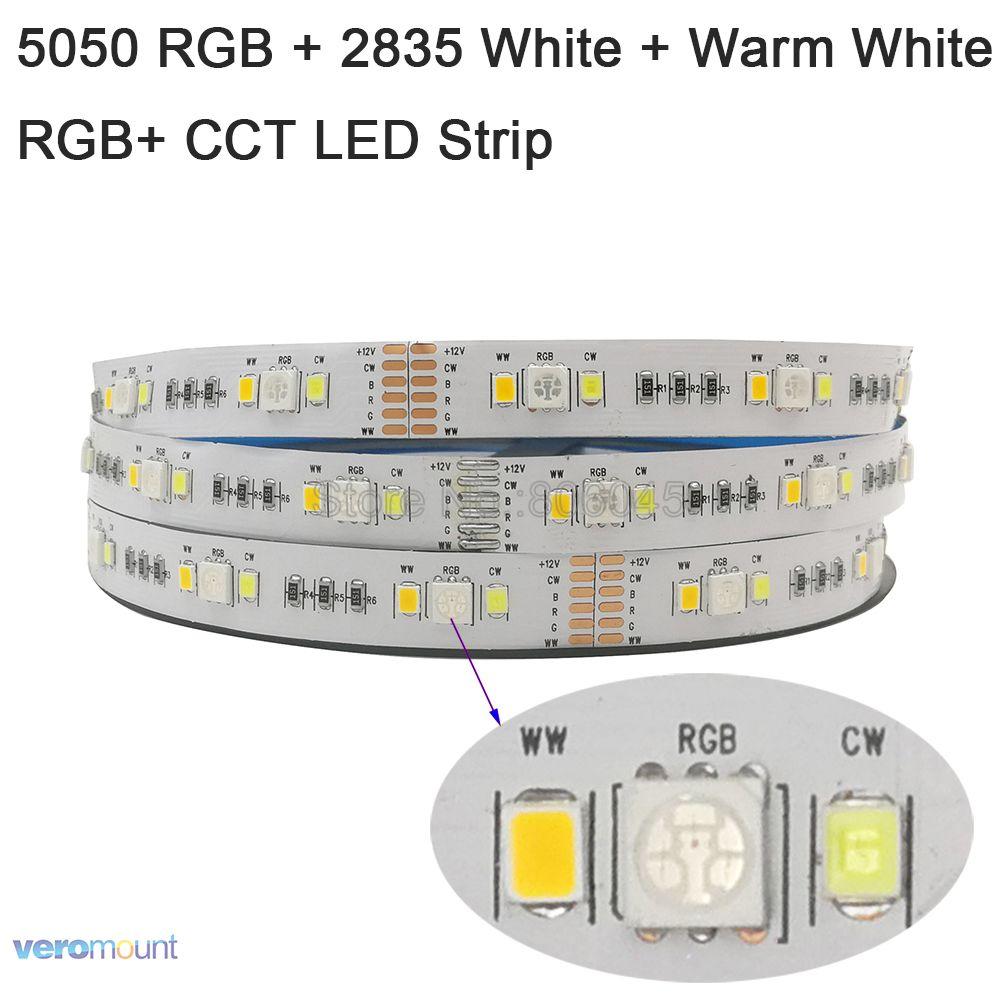 5m RGB+CCT LED Strip Light 5050 RGB SMD+ 2835 Cool White + Warm White LED Tape LED Stripe DC 12V 12mm PCB For Holiday Decoration