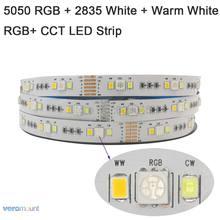 5m rgb + cct conduziu a luz de tira 5050 rgb smd + 2835 branco fresco + branco quente fita led listra dc 12v 24v 12mm pcb decoração do feriado