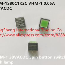 Original new 100% VHM-1S80C1K2C VHM-1 0.05A 30VACDC 5pin button switch with lamp