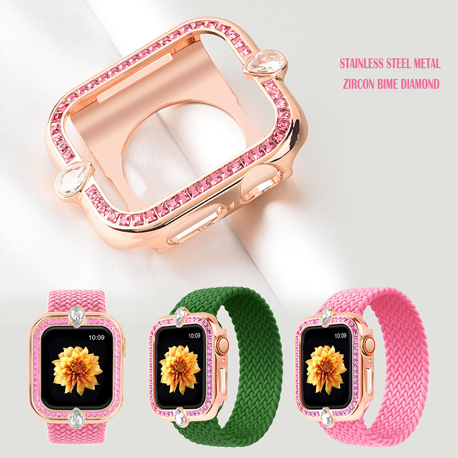 Bling Case for Apple Watch 44mm 40mm Series 6 SE 5 4 Watch Case Stainless Steel Protective Case Diamond Bezel Cover Bumper