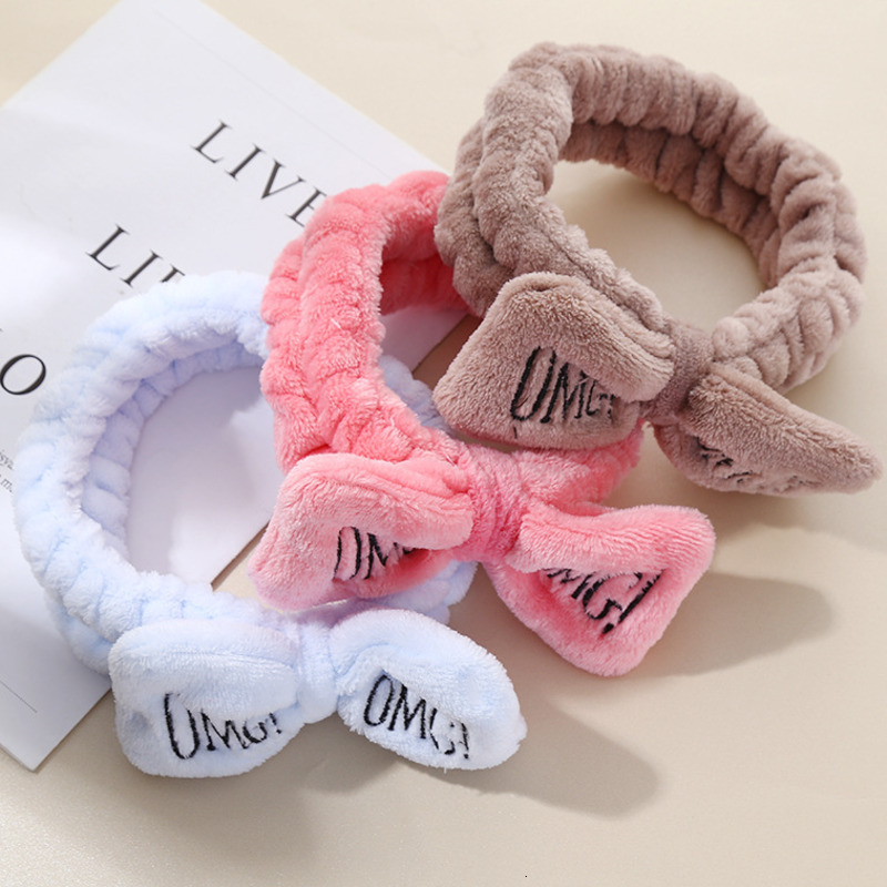 New Fashion Letter OMG Headbands For Women Hair Accessories Coral Fleece Cute Bow Soft Elastic Hair Bands Girl Wash Face Turban