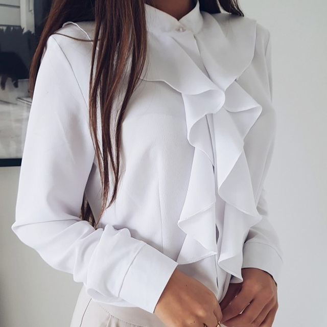 Long Sleeve Ruffled Shirt Women 2020 Fashion Spring Autumn Elegant Blouse Streewear High Quality Pure Color White Black Tops 1