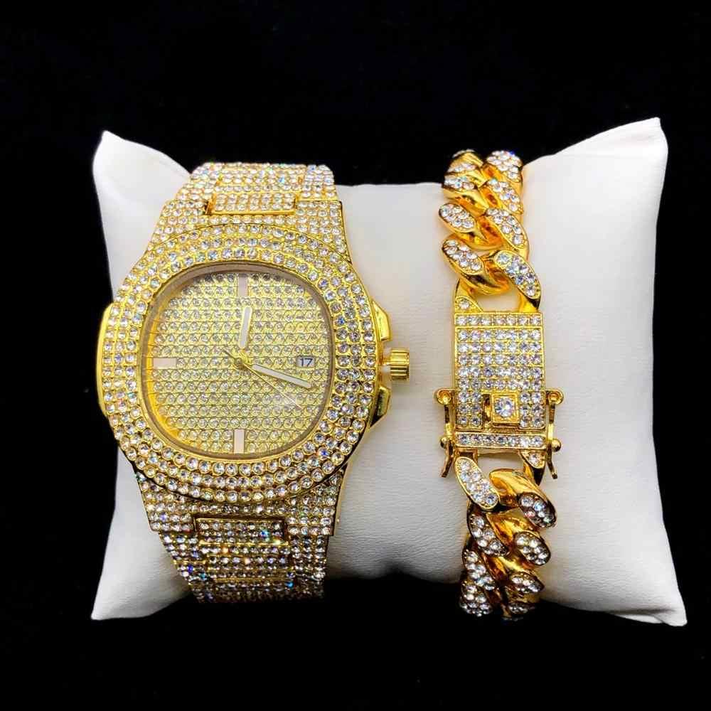 היפ הופ שעון שרשרת חליפת אופנה גברים של זהב וכסף שעון צמיד icewatch קריסטל מיאמי קובה תליון Jewelrycombination