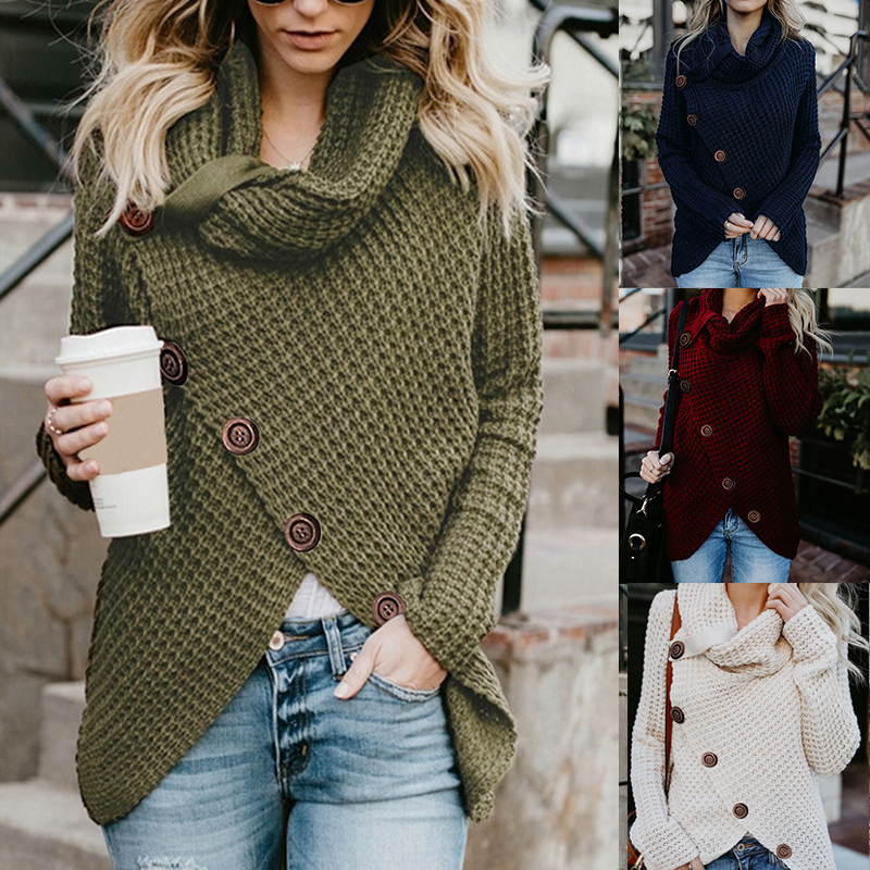 Women Turtleneck Sweater Winter Causal Oversized Loose Buttons Knitted Female Pullover Solid Irregular Plus Size Jumper Sweater