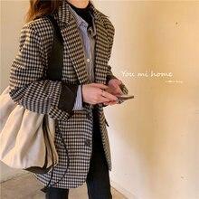 Осенне зимний винтажный двубортный офисный женский клетчатый
