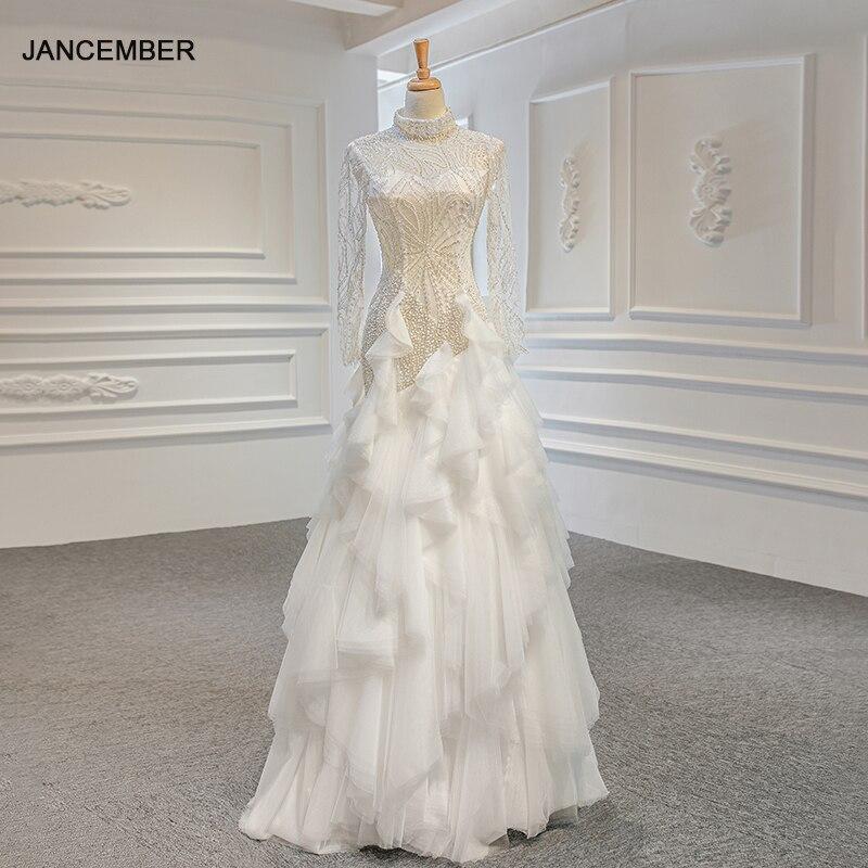 J67115 Jancember Vestido De Novia Wedding Dress Sequined A-Line Beading Lace Up High-neck Pleat Wedding Dresses свадебное платье