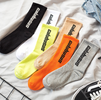 Korean style fashion Harajuku street hip hop socks unisex fun men's socks happy skateboard Chinese character letter ladies socks