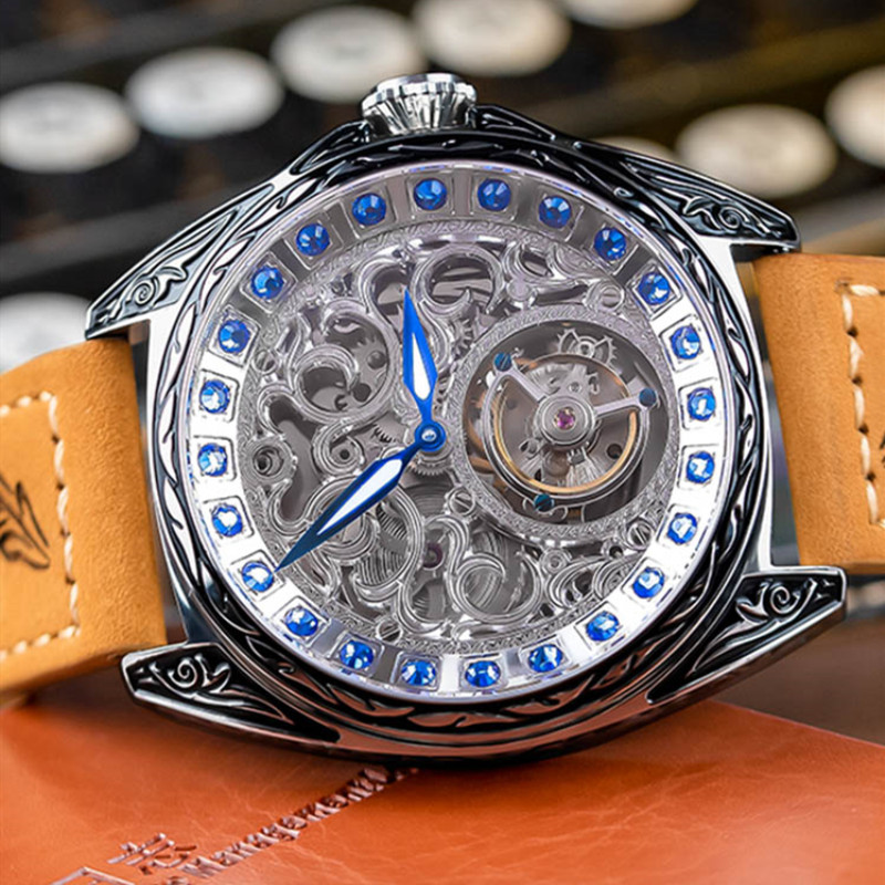 Sapphire Diamond Crystal Skeleton Tourbillon Wrist Watch - novariancreations.com