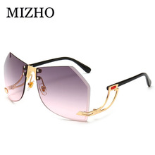MIZHO 2020 New Irregular Rimless Sunglasses Women Brand Desi